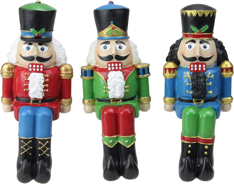 Amazon Com Set Of 3 Red Blue And Green Nutcracker Christmas