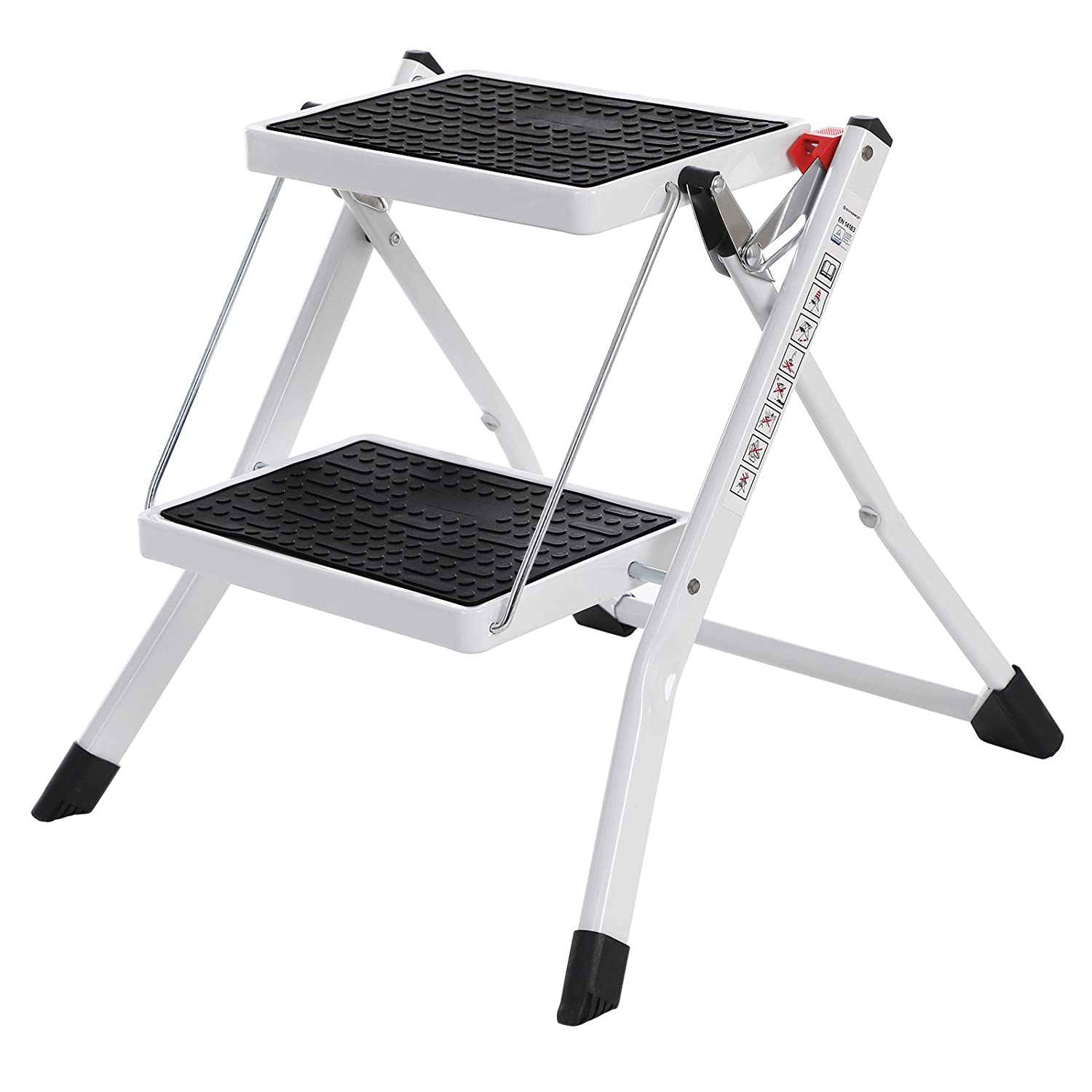 SONGMICS 2 Step Ladder, Heavy Duty Steel, Folding, Portable with Anti-Slip Mat Max. Load Capacity up to 150 kg Tested and Certified by TÜ V Rheinland GSL02WT