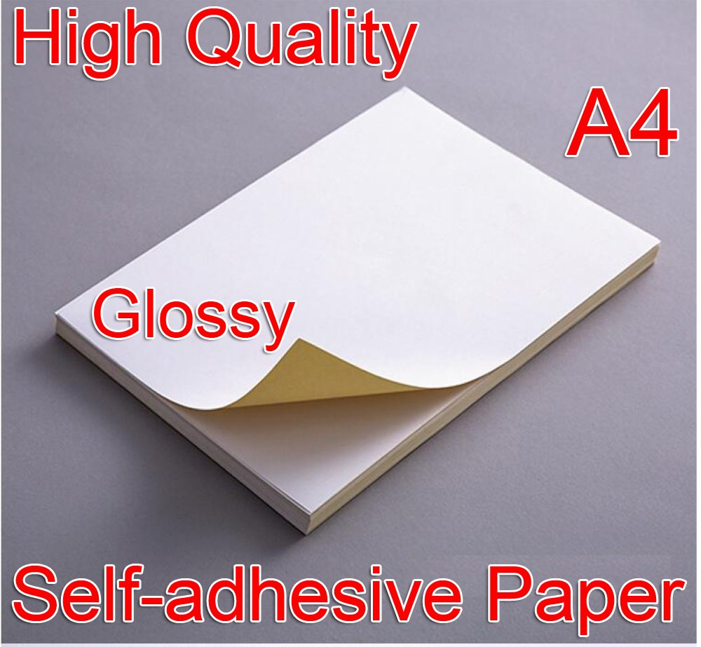 High Quality 21x29cm A4 White Glossy Self-adhesive Sticker Sticky Back Label Printing Paper Sheet Inkjet Laser Printer Graphic Labels Logistics Labels Address Labels (10pcs) iShoot International