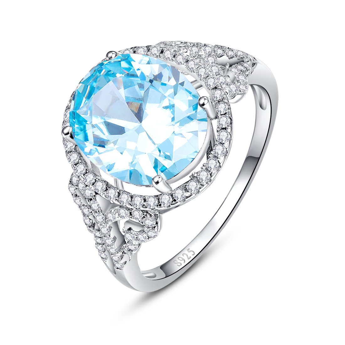 Merthus Womens 925 Sterling Silver Created Blue Topaz Halo Ring