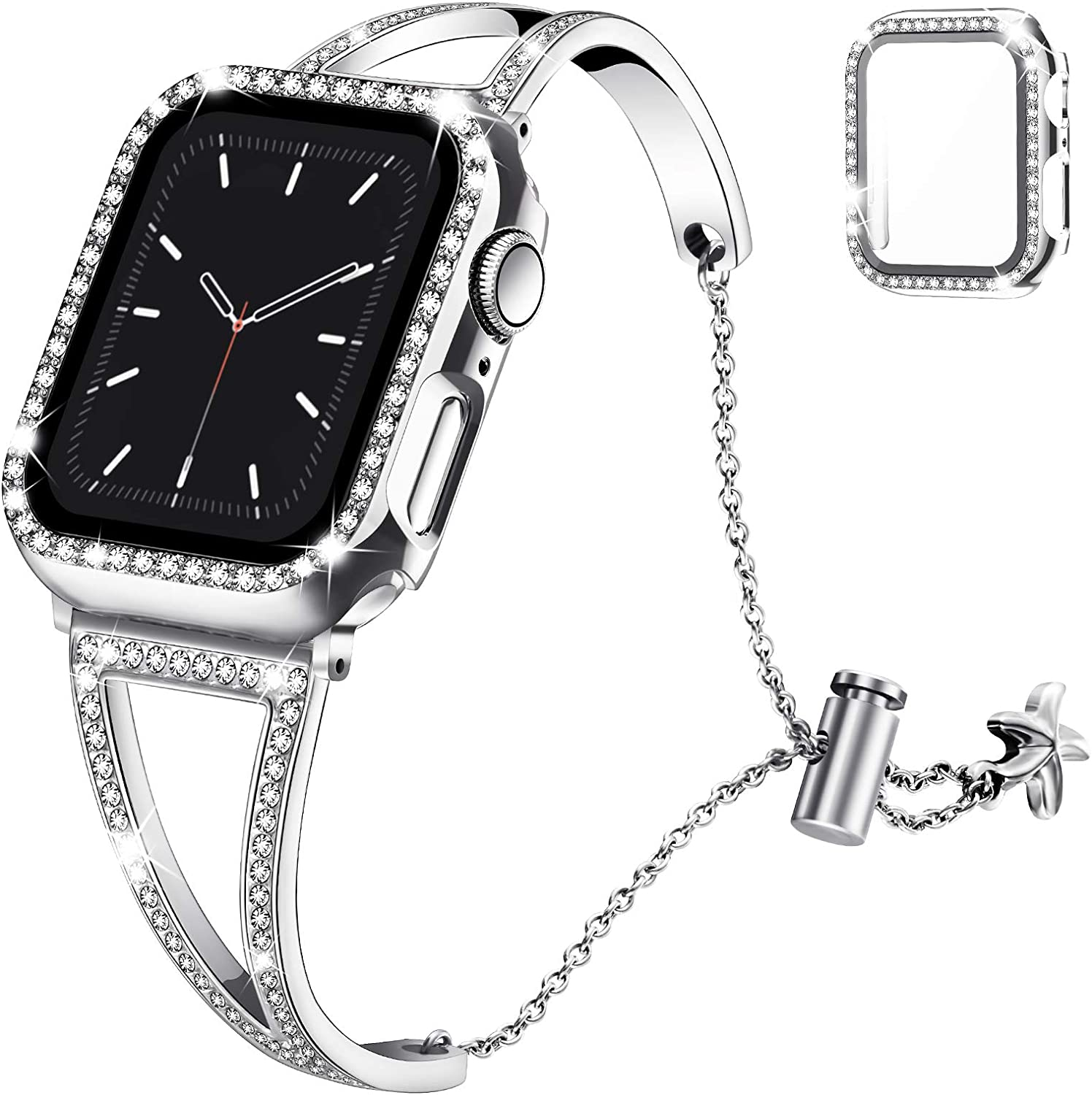 Recoppa Compatible with Apple Watch Band 38mm Series 3 2 1, Jewelry Bracelet Bangle Wristband and Bling Case with Tempered Glass Screen Protector for iWatch(Silver Diamond/38mm)
