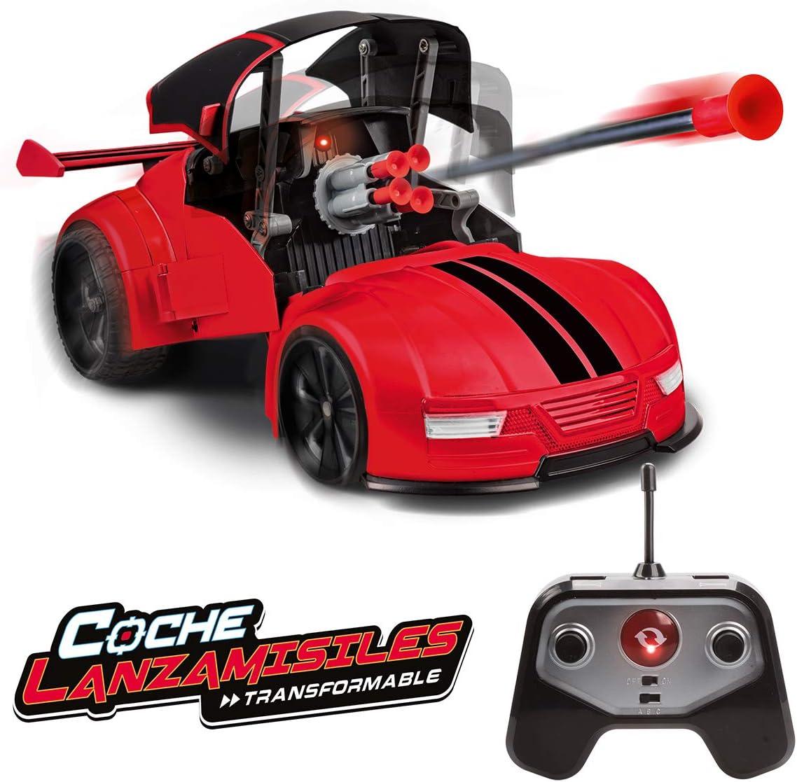 Xtrem Raiders Teledirigido, niños, transformables, Lanza misiles, World Brands, Coche Juguete, Color Rojo XT180892