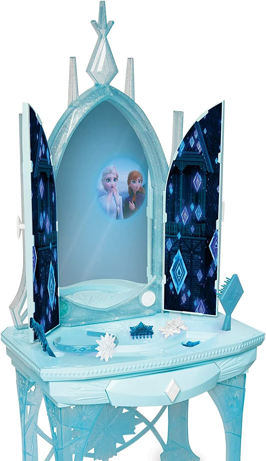 Amazon Com Disney Frozen 2 Elsa S Enchanted Ice Vanity Includes Lights Iconic Story Moments Plays Vuelie And Into The Unknown For Ages 3 Toys Games