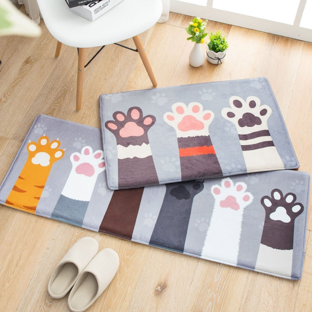 Wolala Home 2-piece Set Coral Fleece Memory Foam Rug Super Soft Non-slip Absorbent Bathroom Rugs Cute Cat Foot Thicken Doormat (1'6x2'6+1'5x4'0, Gray)