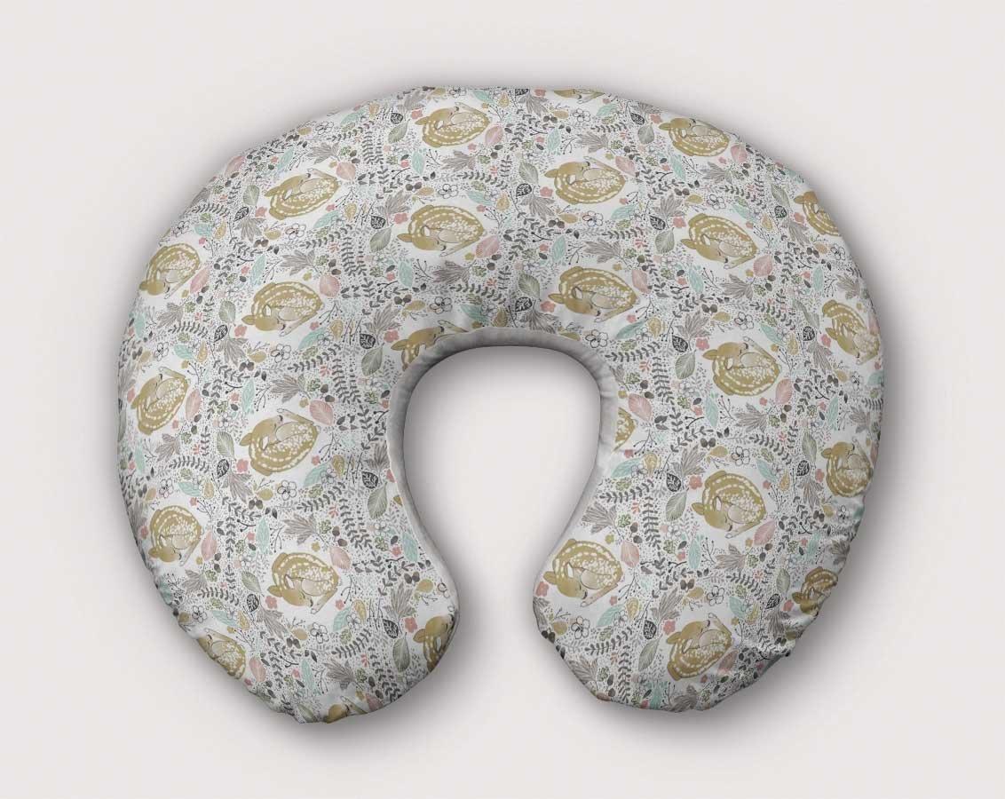 Deer Nursing Pillow Slipcover Woodland Nursery Fawn Buck Handmade From NonToxic USA Cotton/Minky