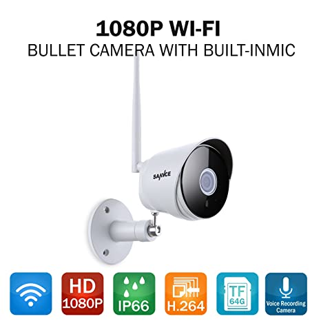 SANNCE Outdoor Security Camera, 1080P Surveillance Cameras Outdoor WiFi  Camera Two-Way Audio, IP66 Waterproof, 65 Feet Night Vision, Motion  Detection