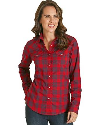4b569c308a1 Wrangler Women's Long Sleeve Red Plaid Fashion Western Shirt at ...