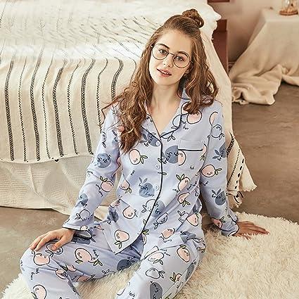 Pijamas de mujer suelta Algodón de primavera y otoño Juego de versión coreana Bonito servicio de