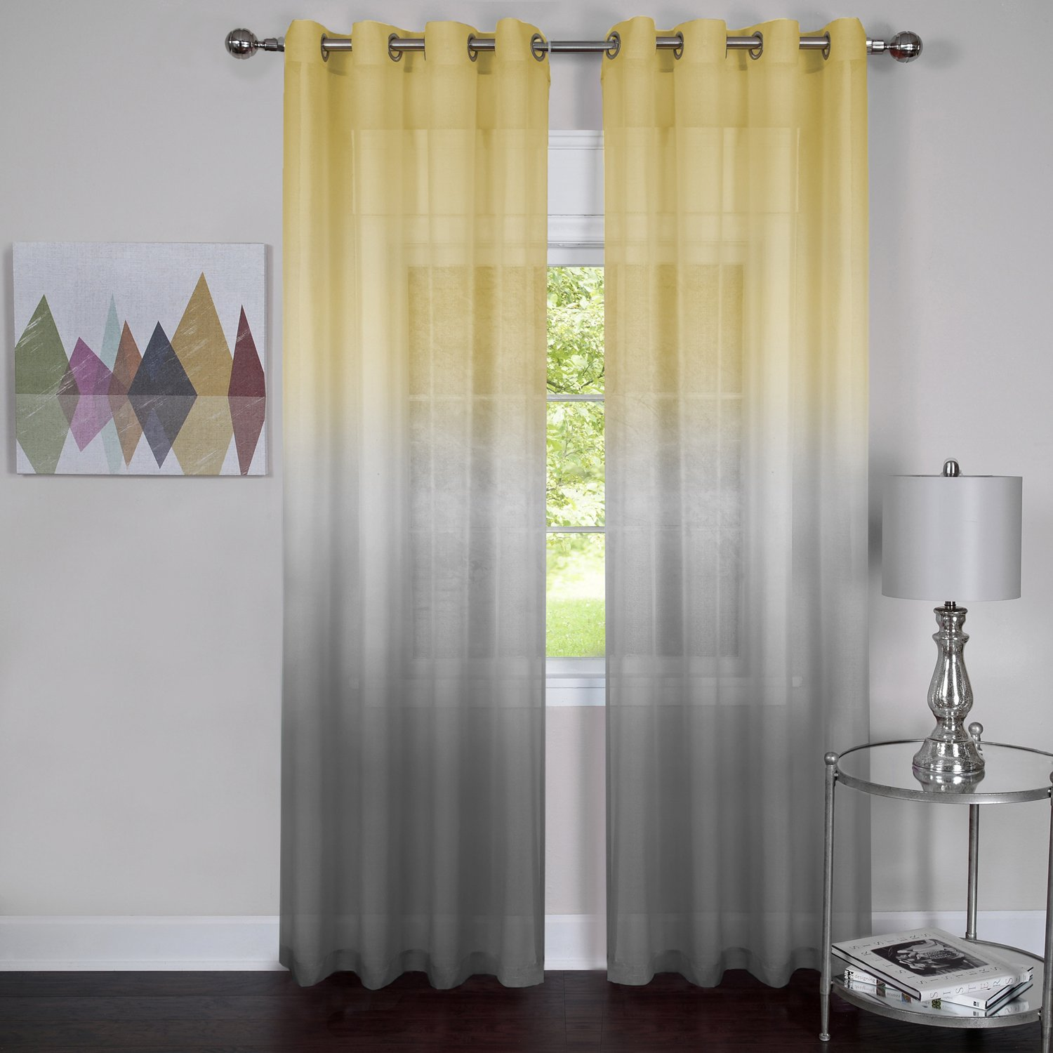 Rainbows and Sunshine Set of 2 Ombre Sheer Window Curtain Panels Grey