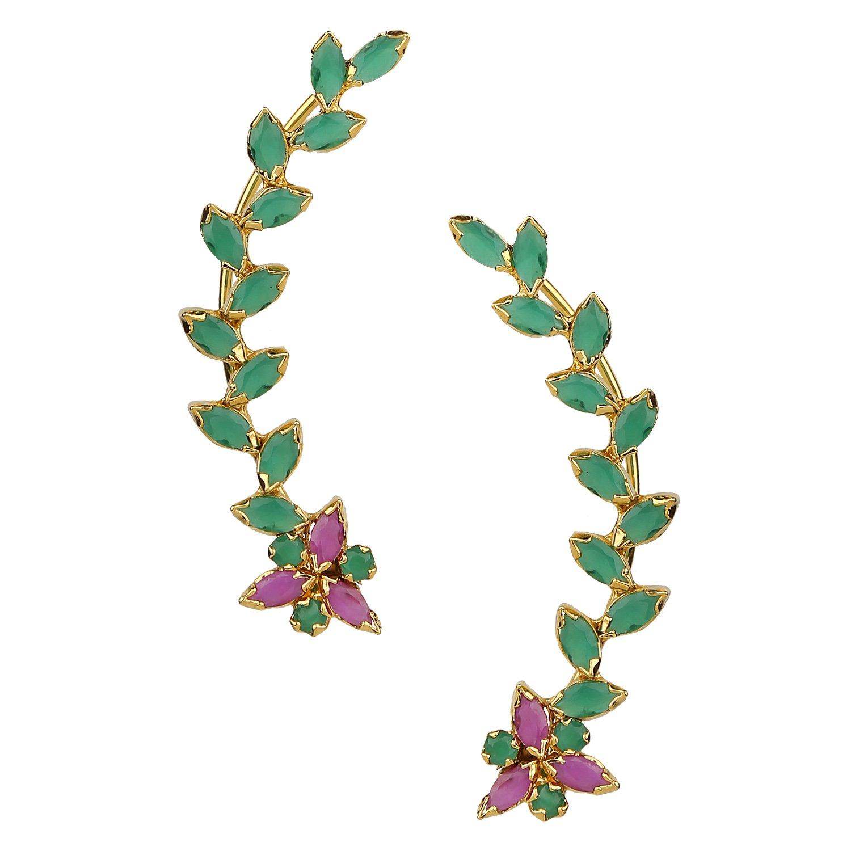 Efulgenz Ear cuffs Cubic Zirconia Floral Leaf Climber Crawler Cartilage Clip on Faux Ruby Emerald Cuff Wrap Earrings