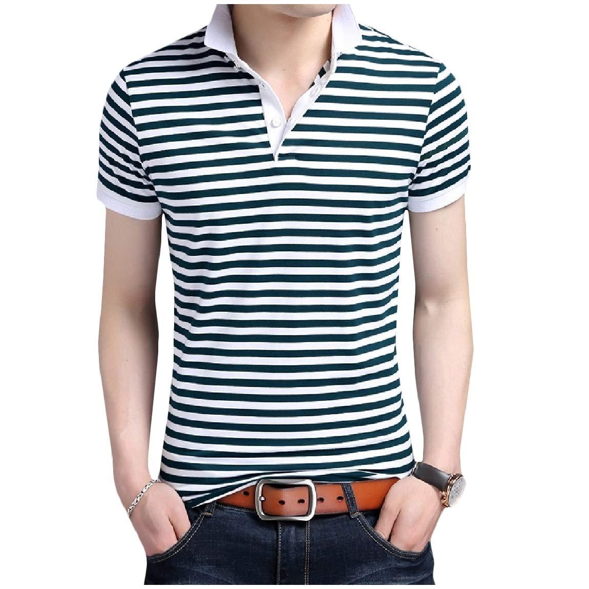 Mfasica Mens Striped Plus Size Lapel Stitch Short-Sleeve Cotton Tees Top