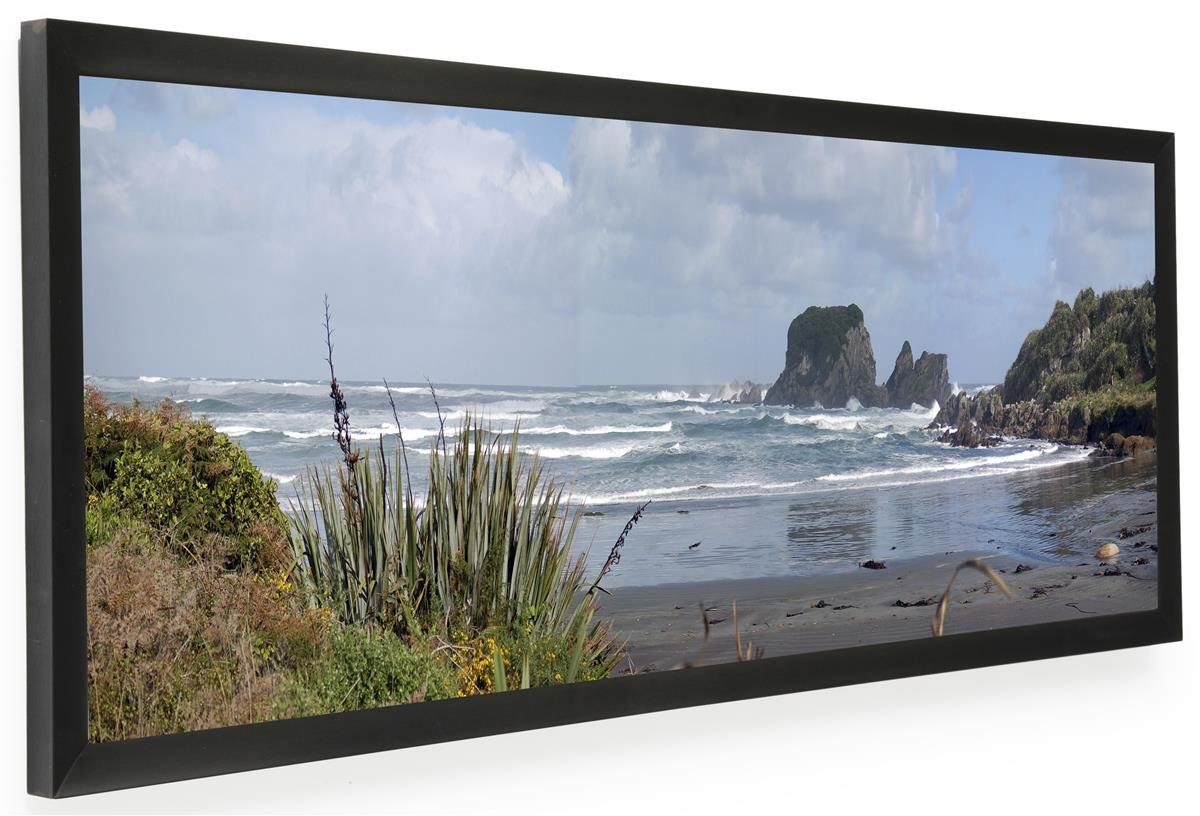Displays2go PNFA3612B Panoramic Print Picture Frame with Lens and Wall Mount, 36'' x 12'', Black Aluminum