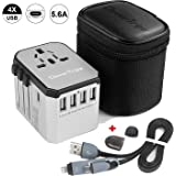 CleverTrips™ Universal Travel Power Adapter All in One Worldwide International Wall Charger AC Plug Adaptor with 5.6A Smart Power USB and 3.0A USB Type-C For USA EU UK AUS Cell Phone Tablet Laptop