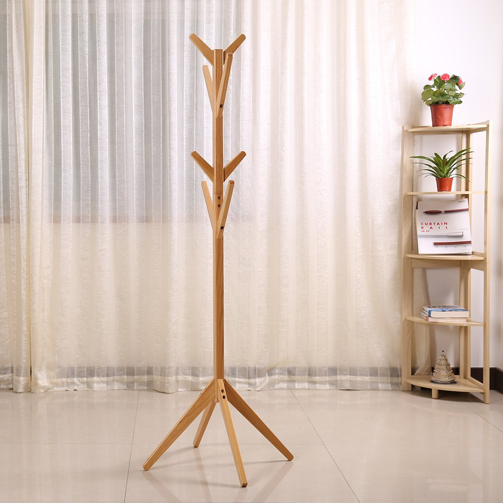 Solid Wood Coat Rack Entryway Hall Tree Coat Tree Rack for Coat Hat Purse Jacket 4 Layer 8 Hook (Natural)