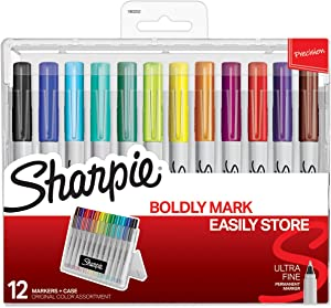Sharpie Permanent Markers with Storage Case, Ultra Fine Point, Original Colors, 12 Count