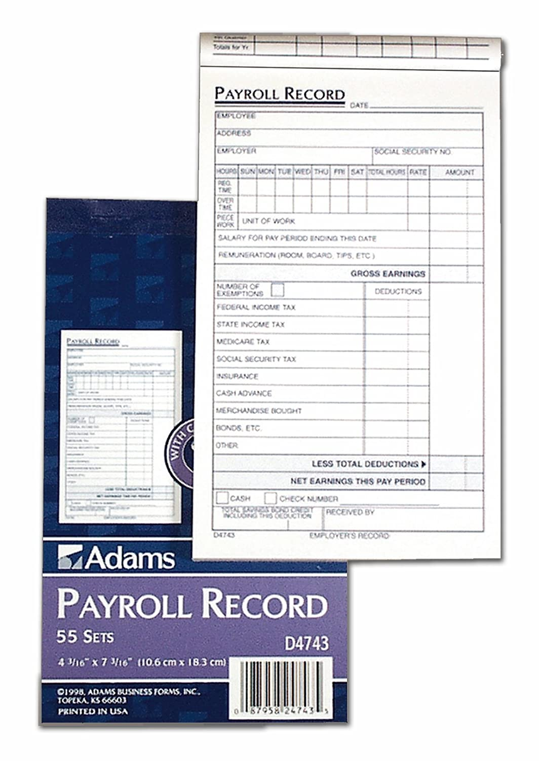 Amazon.com : Adams Employee Payroll Record Book, 4.19 X 7.19 Inches, White  And Canary, 2 Part, 55 Sets (D4743) : Payroll Log : Office Products  Payroll Receipt