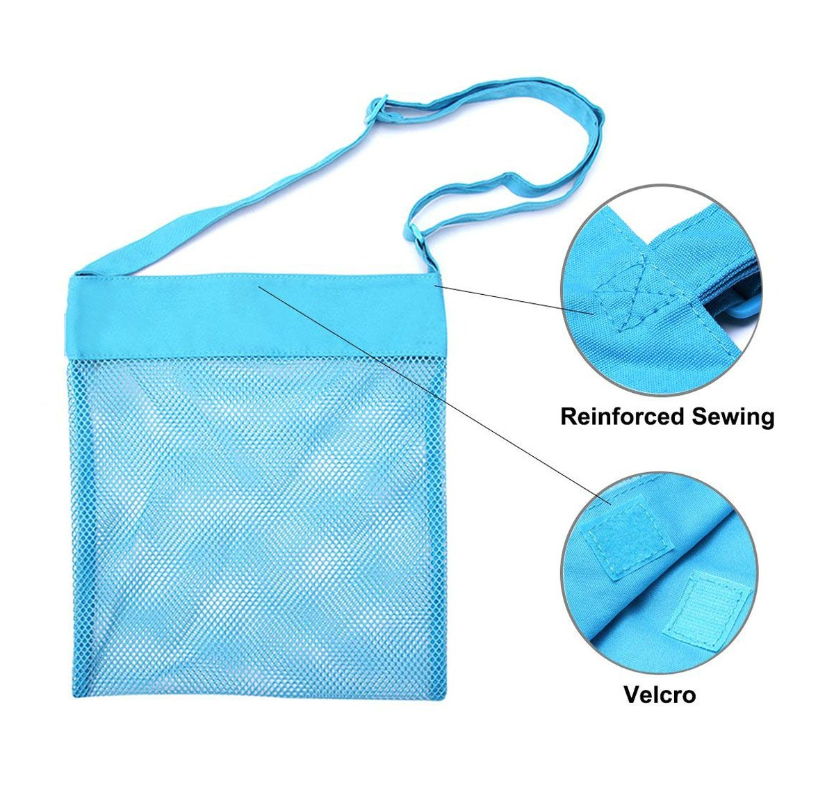 """Bylove 5 Pieces Colorful Mesh Beach Bags Breathable Sea Shell Bags Toy Storage Bags with Adjustable Carrying Straps (5 pieces, 9.8"""" x 9.4"""") by Bylove (Image #6)"""
