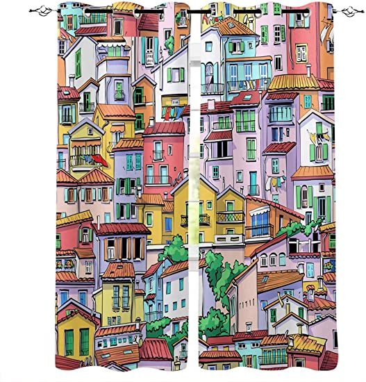 CyCoShower Window Treatment Blackout Curtains Vintage Cartoon Illustration Buildings Urban Modern Life 2 Panels Room Darkening Blackout Drape