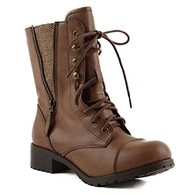 SODA Women's Lace-up Combat Folded Cuff Riding Mid-Calf Boots | Boots