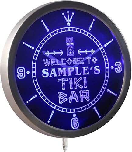 ADVPRO ncpm-tm Tiki Bar Personalized Your Name Bar Beer Sign Neon LED Wall Clock