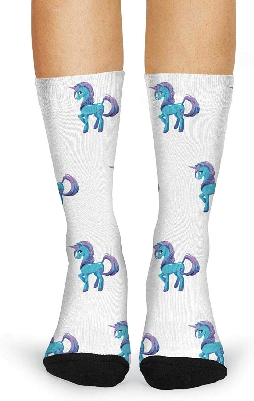 XIdan-die Womens Over-the-Calf Tube Socks cartoon blue unicorn with purple hair Moisture Wicking Casual Socks