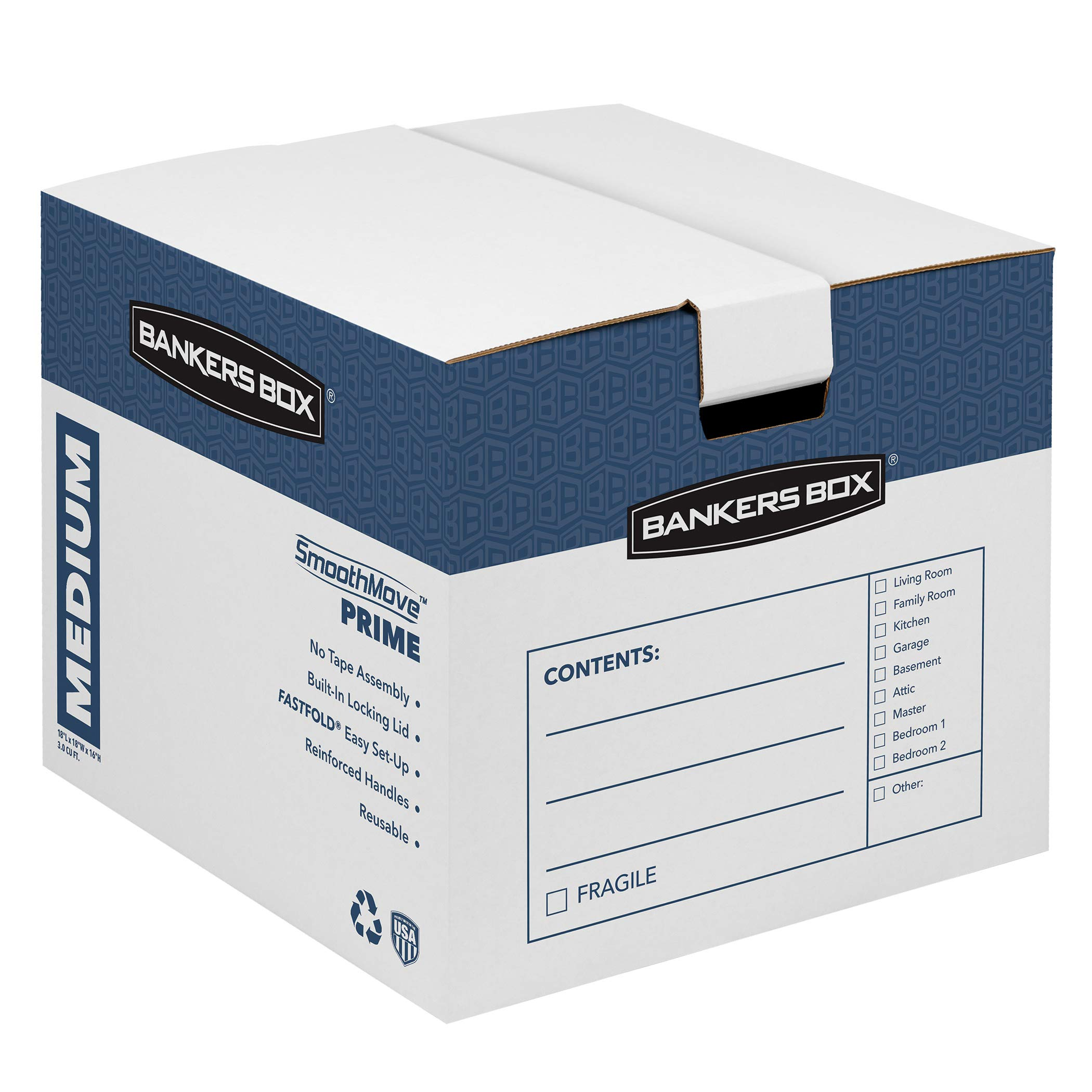 Bankers Box SmoothMove Prime Moving Boxes, Tape-Free, FastFold Easy Assembly, Handles, Reusable, White, Medium, 8 Pack