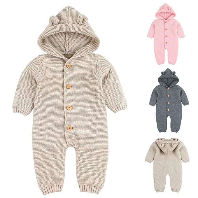 f19fe79092a2 Amazon.com  Coper Winter Outfits for Kids with Knitted Romper Jumpsuit for  Baby Boy Girls