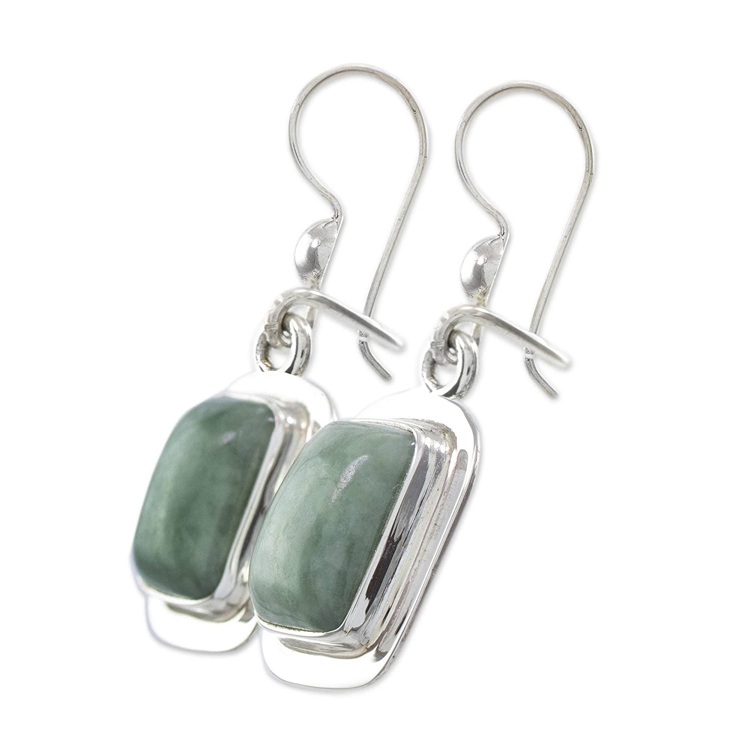 NOVICA Green Jade and .925 Sterling Silver Rectangular Dangle Earrings, Modern Maya