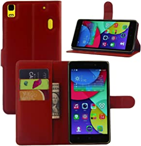 Fettion Lenovo K3 Note A7000 Case, Premium Leather Wallet Case Cover with Stand Card Holder for Lenovo K3 Note A7000 5.5 Inch Phone (Wallet - Red)