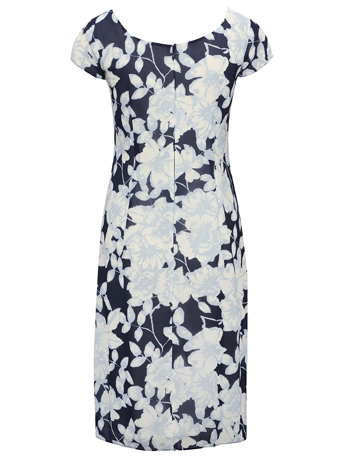 bc9cad9e6ba M Co Ladies Short Cap Sleeve Scoop Neck Tired Chiffon Ruffle Floral Print Pencil  Shutter Dress Blue 12  Amazon.co.uk  Clothing