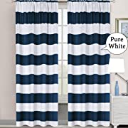 H.VERSAILTEX Window Treatment Thermal Insulated Rod Pocket Room Darkening Striped Curtains Drapes for Bedroom/Living Room (2 Panels, 52 by 96, Nautical Navy/White)