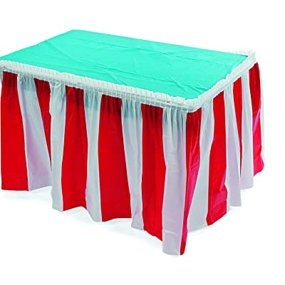 Fun Express Striped Table Skirt, Red/White (1 Piece) Carnival & Event Party Supplies, Birthday Decorations, Patriotic Decor, 14 Feet x 29 Inches: Toys & Games