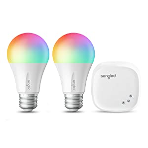 Sengled Smart LED Multicolor (Element Color Plus) A19 Starter Kit, 60W Equivalent Bulbs, 2 Light Bulbs & Hub, RGBW Color and Tunable White 2000-6500K, Works with Alexa & Google Assistant