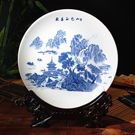 CLG-FLY Porcelain decorative plate porcelain blue and white landscape wall plates home living room & Amazon.com: CLG-FLY Porcelain decorative plate porcelain blue and ...