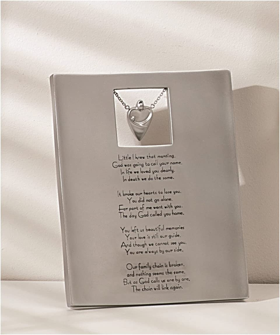 Silver Tone Bereavement Plaque with Verse, 8 Inch