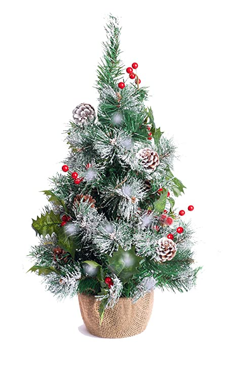 best artificial 2ft 60cm small decorated indoor christmas tree with 20 bright white led battery