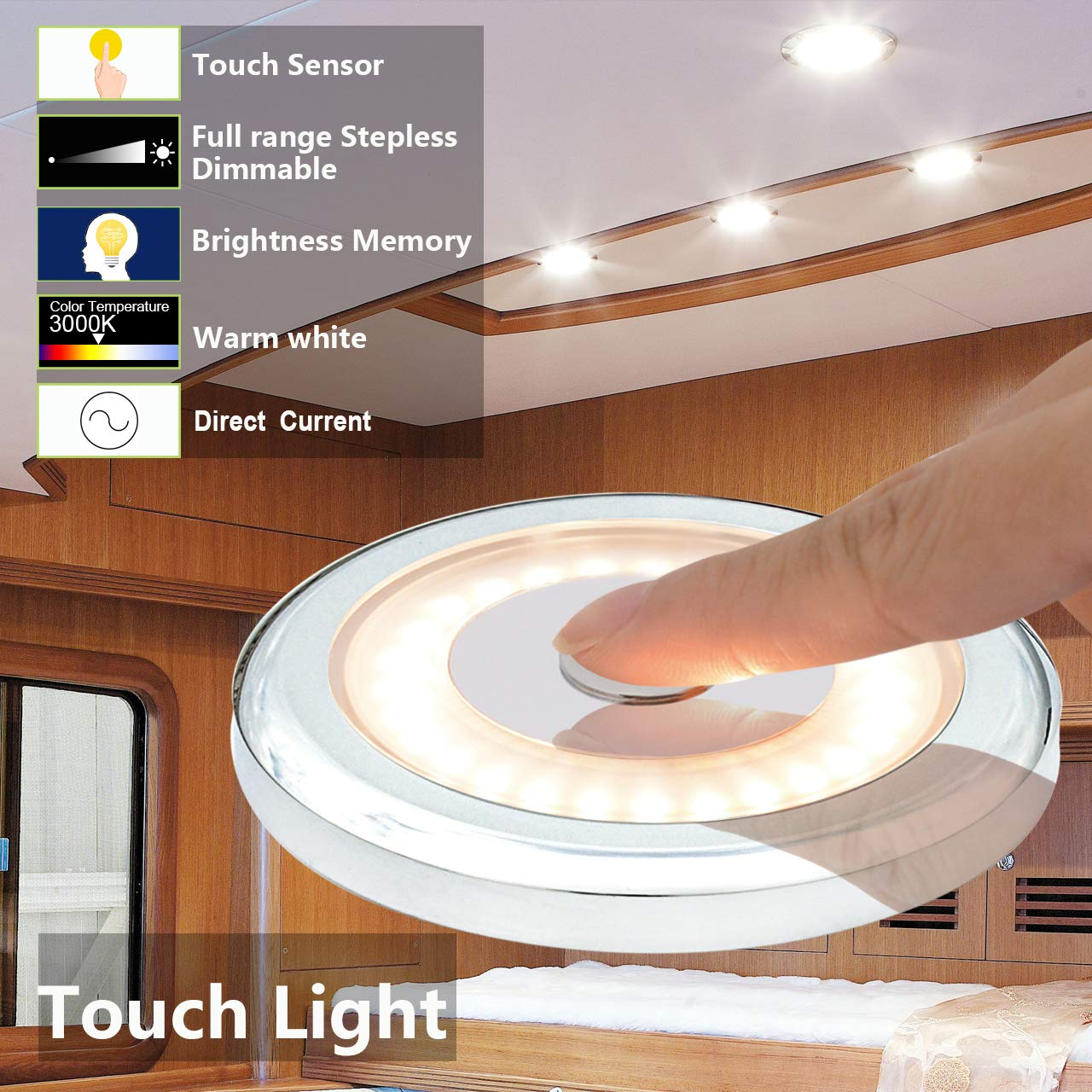 Sailboat Surface Mounted Ultra-Thin Interior Lighting for Motorhome Pack of 6 Caravan Yachts Dimmer Switch 12V 2800K Warm White Waterproof LED 3W RV Ceiling Touch Adjustable Light Boat