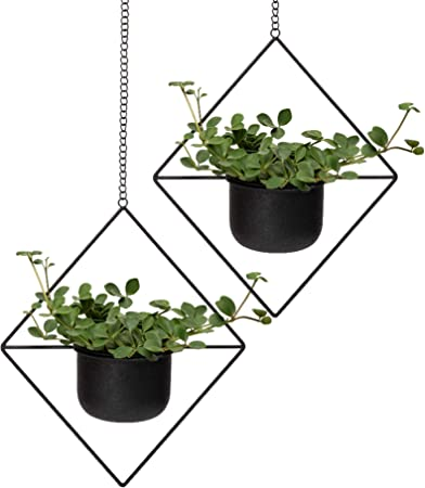 Hanging Flower Planter Wall Home Decoration Iron Geometric Holder Plants Vase