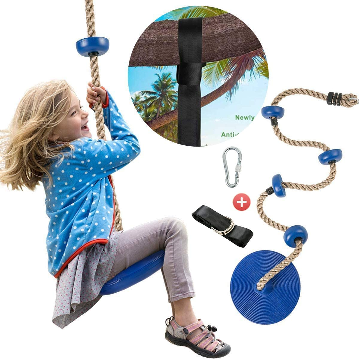 Climbing Rope Disc Tree Swing for Kids-Tree Straps Swings Sets Seat,Outside Toys Kit,Backyard Play Equipment for Kids Yellow