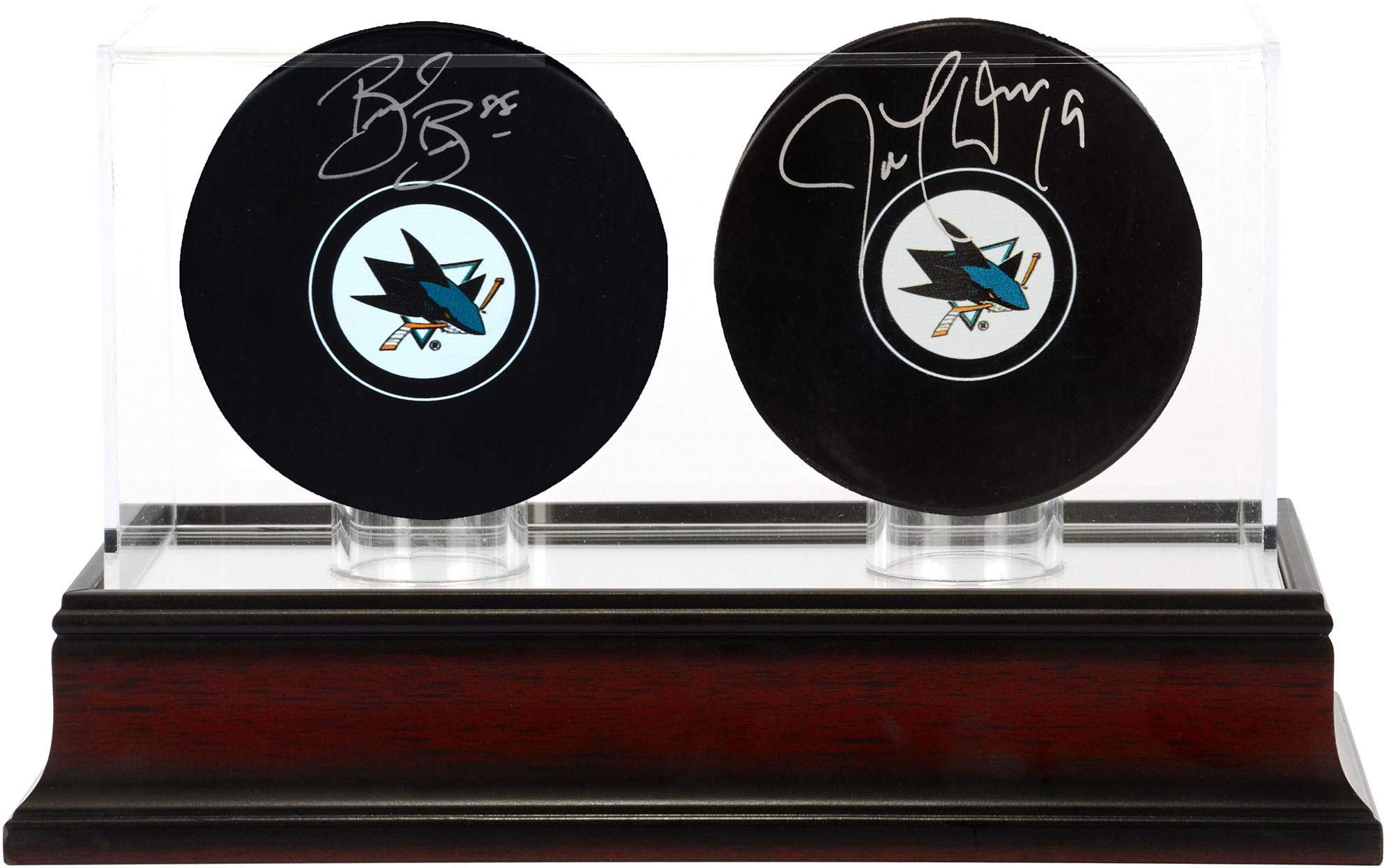 Brent Burns and Joe Thornton San Jose Sharks Autographed Hockey Pucks with Mahogany Two Puck Case Fanatics Authentic Certified