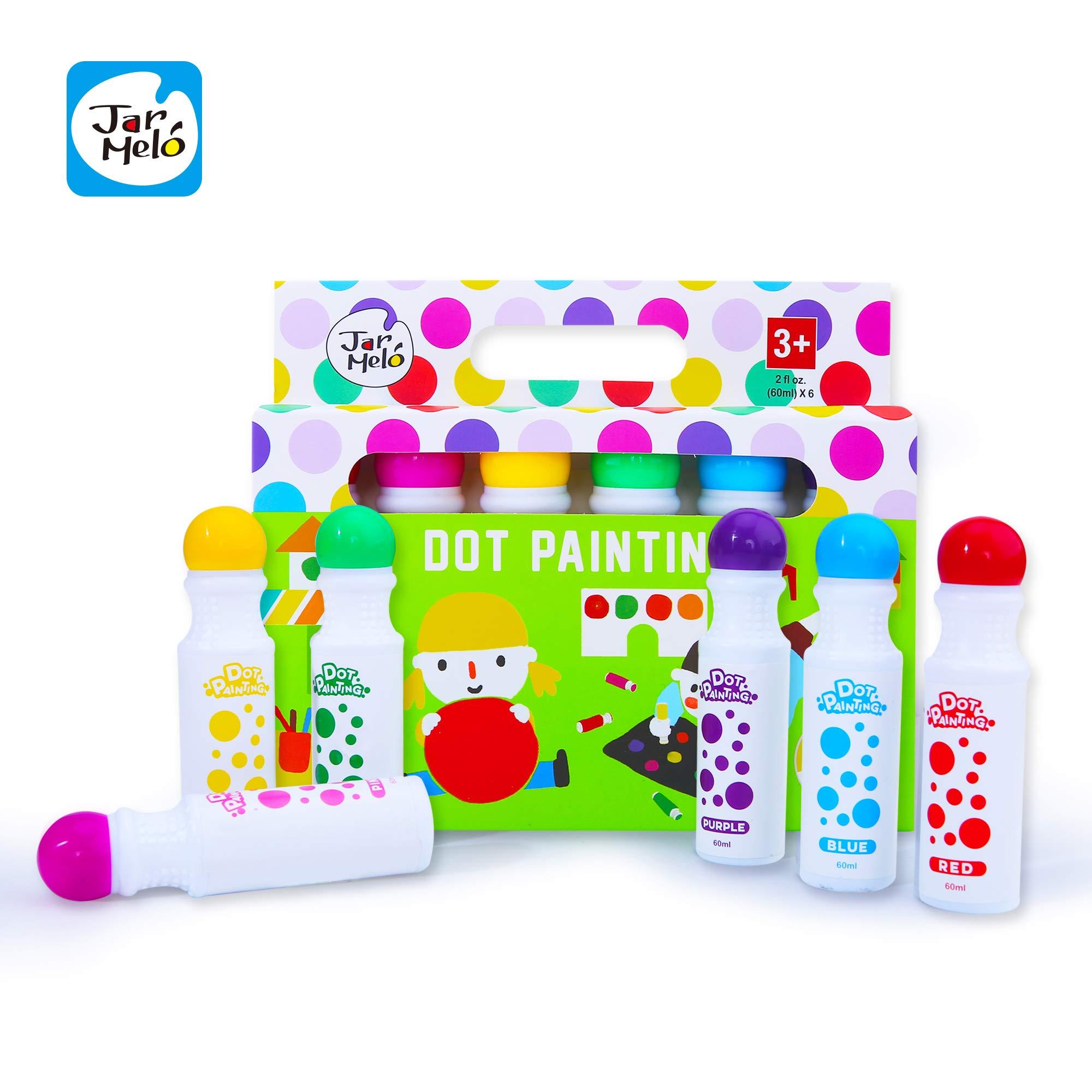 Jar Melo Washable Dot Markers for Kids Preschool Children - 6 Colors; Rainbow Washable Paint Markers