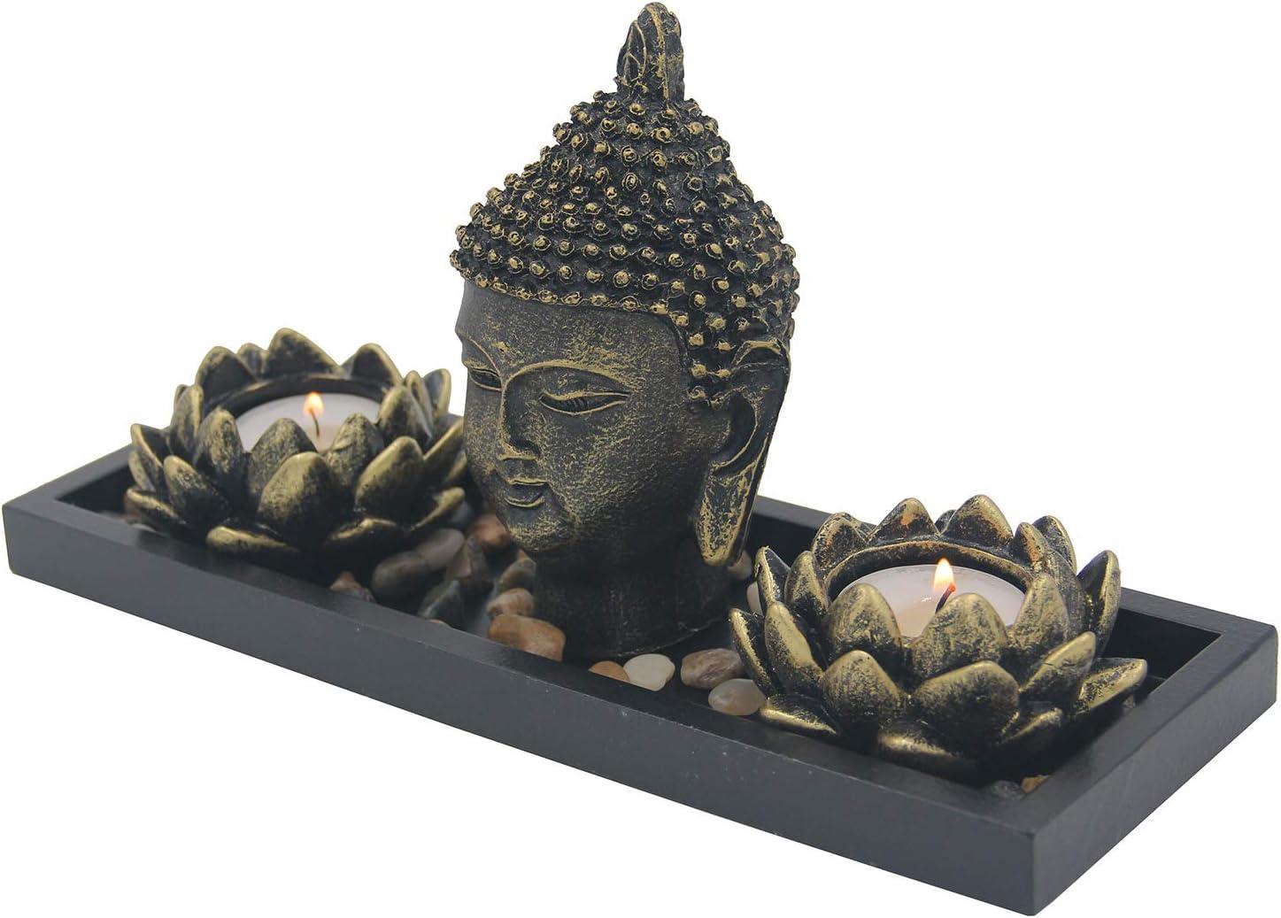 Import Anglais Black /& Silver Thai Buddha Tea Light Holder
