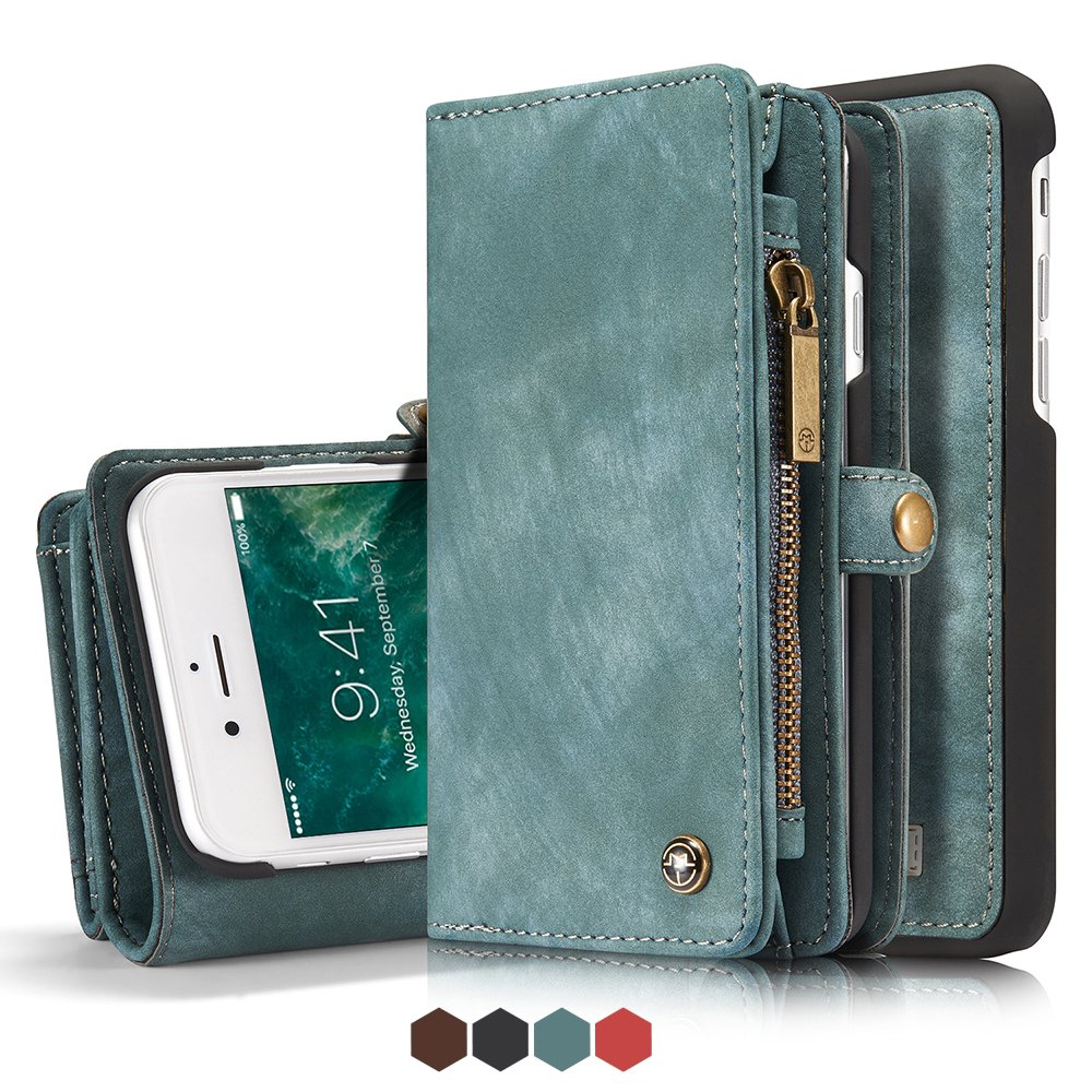 Iphone 8 Leather Wallet Magnet Detachable Phone Case with Card Slots Cover, Blue FLY HAWK
