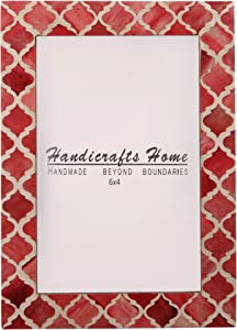 Handicrafts Home 4x6 Picture Photo Frame Moorish Damask Moroccan Art Inspired Vintage Wall Décor Frames [4x6 RED]