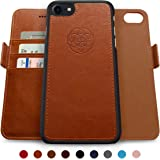 Dreem iPhone 7-8 Wallet Case, Magnetic Detachable Slim-Case, Fibonacci Luxury Vegan Leather, RFID Protection - Caramel Brown