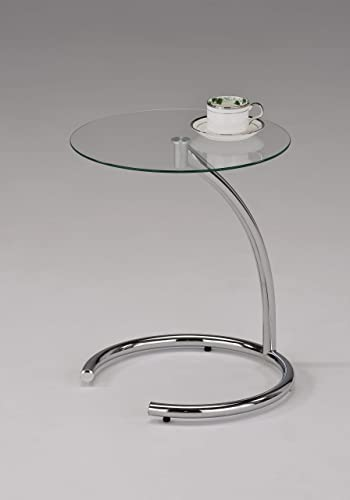 Kings Brand Chrome with Glass Modern Accent Side End Table Renewed