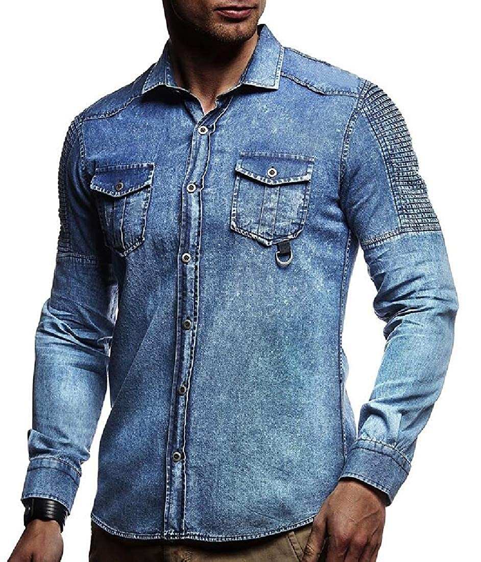 Mens Long Sleeve Casual Custom Fit Denim Solid Color Button Front Shirts