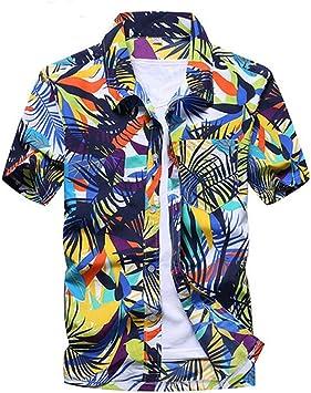 YAYLMKNA Camisa Camisa De Playa De Verano para Hombre Manga Corta Tallas Grandes Camisas Florales Hombres Ropa Informal, S: Amazon.es: Deportes y aire libre