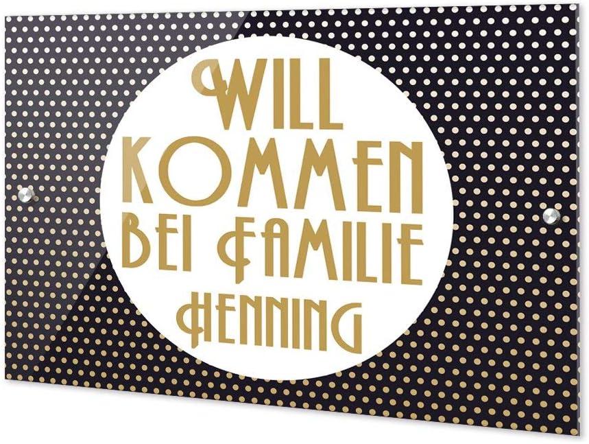 Namensschild Haust/ür Herzlich Willkommen bei Familie Motiv // 21x15cm Haust/ürschild Wiese GRAZDesign Personalisierte T/ürschilder Familie /& Tiere