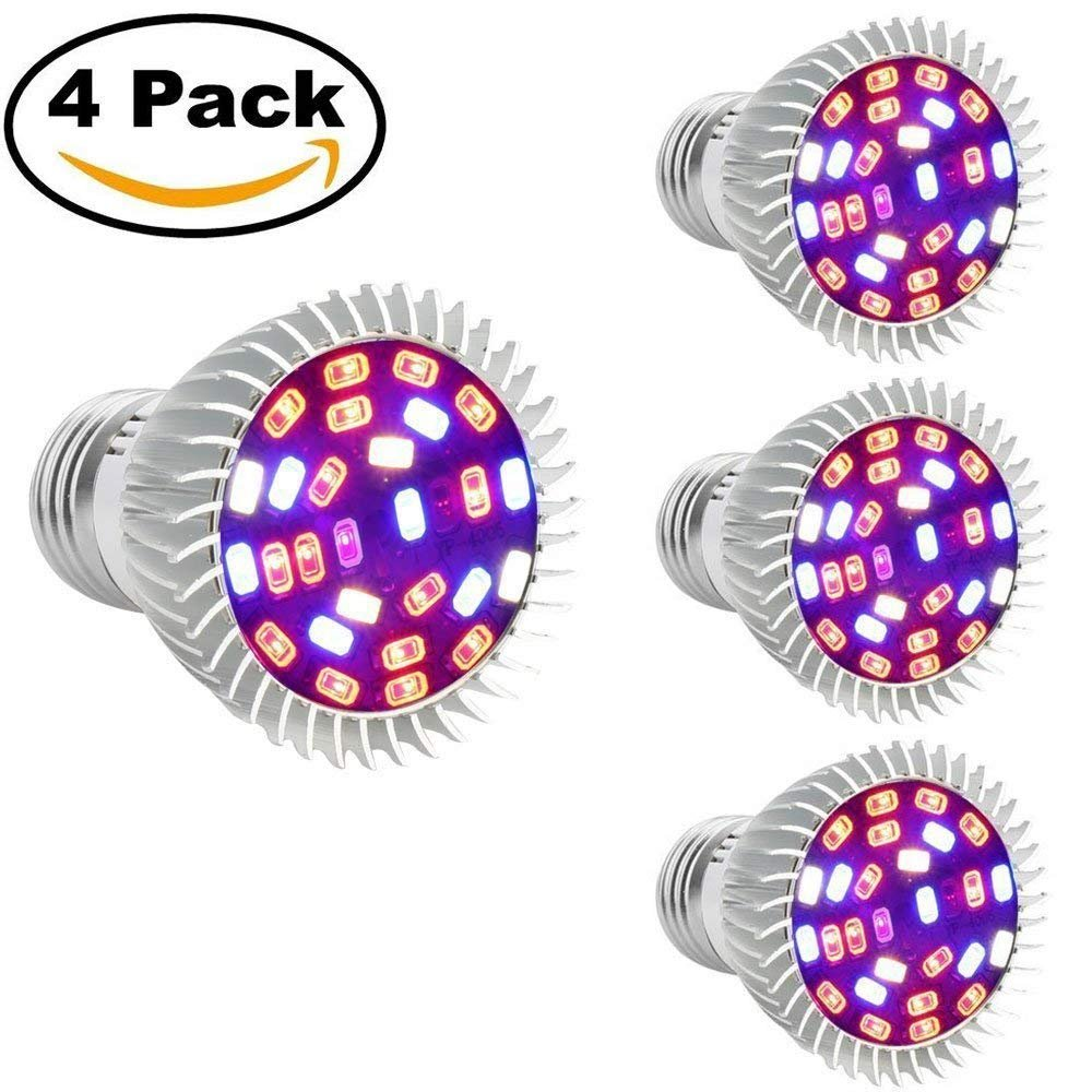 Esbaybulbs LED Grow Light Bulbs E27 28W Full Spectrum for Indoor Plant Growing Lamps Hydroponic Growing Greenhouse Plants Succulents Lights [Pack of 4]